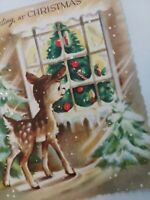 1950s Vtg REINDEER Fawn Sees Tree GLITTER House Window CHRISTMAS GREETING CARD