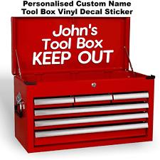 Custom Personalised Name Funny Garage Workshop Tool Box Vinyl Decal Sticker