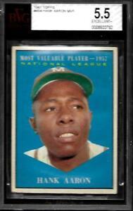 1961 Topps #484 Hank Aaron MVP Braves DEAD CENTERED EX+ BVG 5.5
