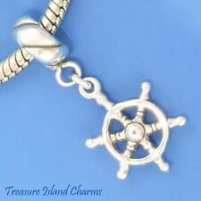SHIP WHEEL CAPTAIN HELM 3D .925 Solid Sterling Silver EUROPEAN Dangle Bead Charm