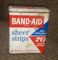 Johnson & Johnson Vintage Band-Aid Metal Tin Sheer Strips Hinge Lid #4630 USA