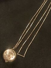 Antique Bucherer 17 Jewel Watch Pendant Necklace Chain 800 Silver Pool Of Light