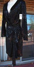 NWT David Meister  Black Sequin Long Sleeve Dress Size 4
