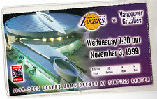 1999-00 GRIZZLIES @ LOS ANGELES LAKERS FIRST GAME PLAYED STAPLES CENTER TICKET