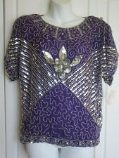 NWT Handmade Indian Top Embroidered Sequin Beaded Purple/Silver Silk Orig $200