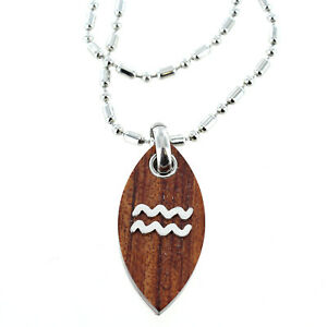 Rochet Roma Polished Wood Water Symbol Pendant with Chain Included