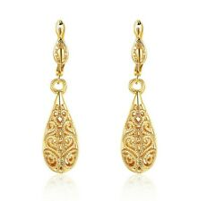 "1.6"" Drop Leverback Earrings 14k Yellow Gold Plated Crystal Cut ITALIAN MADE"