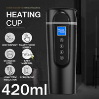 420ml Stainless Steel Car Heating Cup Mug12/24V LCD Display Electric Water Cup