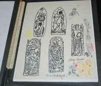 Vintage Frank Kelly Freas LARGE Stained Glass Window Designs Original Comic Art