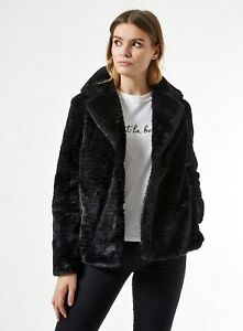 Dorothy Perkins Womens Black Short Textured Faux Fur Fluffy Teddy Winter Coat