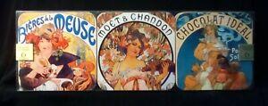 "Alphonse Mucha Set of 6 Waterproof 3 3/4"" Coasters ( Souvenir of Paris)"