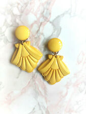 boucles d'oreilles vintage clips pendantes années 80 jaunes France