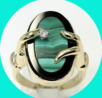 Diamond onyx malachite landscape ring 14K YG oval cab HVS round brilliant .05CT