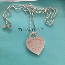 "Tiffany & Co. Heart Extra Large 34""  Heart Chain Necklace Dog Tag Xl Return To"