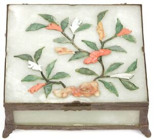 Antique Chinese Brass Green Jade Hardstone Coral Carnelian Trinket Box Flowers