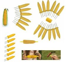 6x Stainless Steel Corn On The Cob Skewers Sweetcorn Holder Easy Grip BBQ Prongs