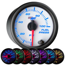 """2 1/16"""" GlowShift White 7 Color LED 0 - 100psi Electrical Fuel Pressure Gauge"""