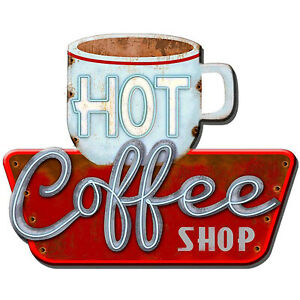 """Hot Coffee Shop"" 38cm x 48cm Metal Novelty Wall Sign For Bar Bistro Diner Cafe"