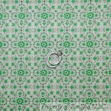 BonEful Fabric FQ Cotton Quilt VTG Green White FLOWER Dot Shabby Chic Girl Boy S