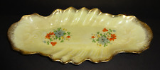 VINTAGE ANTIQUE HAND PAINTED YELLOW GOLD GILT FLORAL PORCELAIN SERVING TRAY DISH