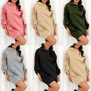 Ladies Women Ruched Sleeve Fleece Longline Sweatshirt Oversized Hooded Jumper UK