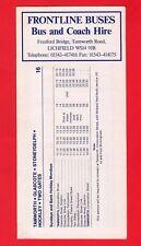 Bus Timetable ~ Frontline Buses - 16 Tamworth: X75 Birmingham: 802 Clifton 1990s