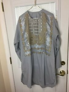 Afghan Gray with Gold Accent Traditional Dress Robe Men's Top Size Medium EUC