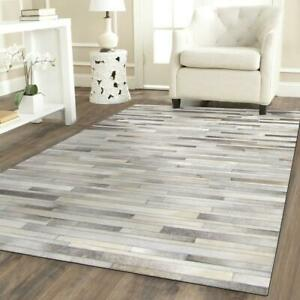 Gray, Beige & White 100% Cowhide Rugs Patch Work in Stripe Carpet Area All Sizes
