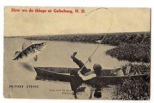 1911 Galesburg North Dakota Nd Fish Exaggeration Postcard