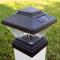 Hongville Plastic Matte Black Square Post PVC Deck Fence Mount Cap 2 Set