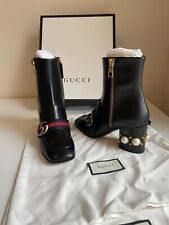 Gucci Ankle Boots Shoes Size 37.5 EU, With Pearls and GG Detail