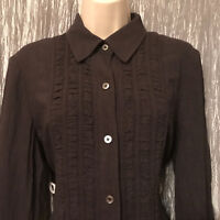 Women's DB Life Dana Buchman Brown Ruched Button Front Blouse Top Size Medium