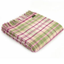 RRP-£60 TWEEDMILL TEXTILES 100% Wool Bed Throw Blanket COTTAGE CHECK PINK z