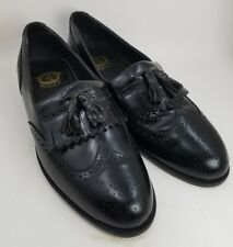 Florsheim 20217 Black Leather Tassel Loafers Wingtip Dress Shoes Mens Size 9 D