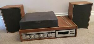 Vintage Tellux BSR Record Player + Speakers - Audic Five T/C 8 Track Stereo Wood