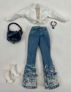 Clothes BARBIE Fashion Avenue Beat Street Retro Hippy Fringed Jeans Crop Top