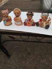 Homco Porcelain Thanksgiving Holiday Bears Set Of 4 #1413