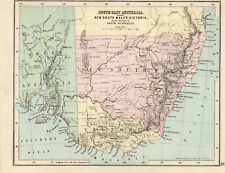 Antique Map Of Australia South East Victoria New South Wales 1888