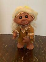 Vintage 1977 Thomas Dam Indian Troll Doll Made In Denmark