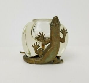 Vintage Artist Signed Cast Brass Lizard Art Glass Ink Well Figure Antique Metal