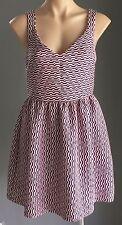 Awesome ZEITGEIST Pink & Navy Geo Print Sleeveless Skater Dress Size 12