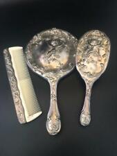 Vintage Silver-plated 3 Piece Vanity Set Mirror, Brush & Comb with Cherub Design