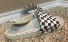 Vans Slide-On Checkerboard Sandals - Women's Size 8, Black/White