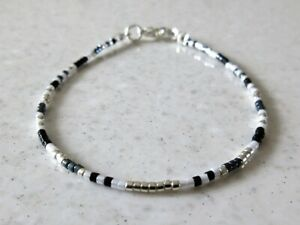 Black, White & Silver Seed Bead Fashion Bracelet / Minimalist Anklet / Necklace