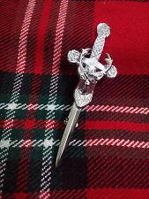 "TC New Stag Head Sword kilt pin Chrome Finish/Celtic Kilt Pins Stag Head 4"""