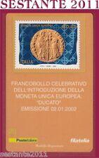 TESSERA FILATELICA  FRANCOBOLLO INTRODUZIONE MONETA UNICA DUCATO 2002  D21