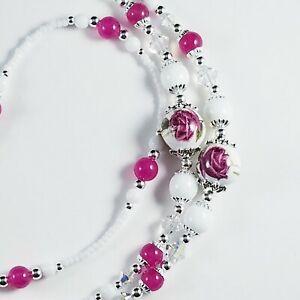 Handmade Beaded Lanyard~White & Dark Pink Roses~Crystal~Badge ID Holder