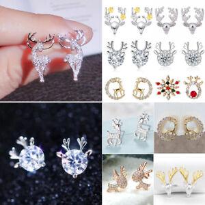 Christmas 925 Silver Elk Rhinestone Earrings Stud Piercing Women Xmas Party Gift