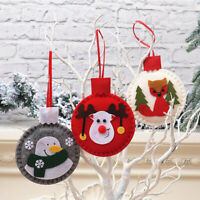 KQ_ Round Snowman Deer Santa Claus Felt Hanging Ornament Xmas Party Home Decorat