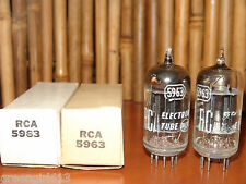 2 Vintage Rca 5963 D-Getter Black Plates Radio Tubes 1955 2250/2420 µmhos 11.7/1